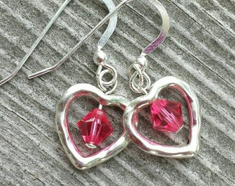 Pewter Hrart Earrings with Swarovski Crystal and  Sterling Silver.