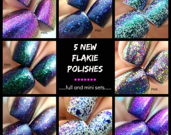 Full Set (2nd release) of 5 Flakie Polishes :  Custom-Blended Indie Glitter Nail Polish / Lacquer