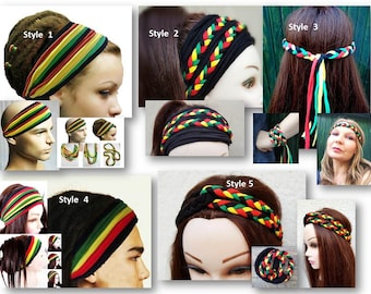 Rasta Headband, Headband, Jamaica Headband, Rastafarian Headband, Reggae Headband, Hippie Headband, Boho, One Love Headband,
