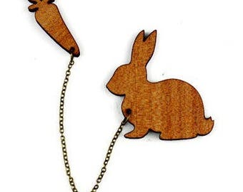 "Natural wood brooch Kit ""Bunny and carrot"""