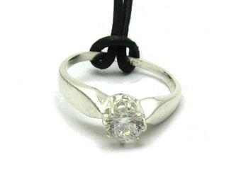 Sterling silver engagement ring pendant solid 925 with CZ
