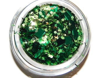 Emerald Green Glitter Mix, Solvent Resistant, Glitter Mix, Green Glitter, Raw Nail Glitter Mix, Nail Polish, Nail Art, Green Glitter Mix