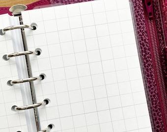 Pocket Graph paper printed planner insert - grid refill - grid line paper