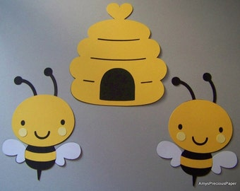 Bee hive & bees die cuts