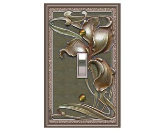 0151X - Art Nouveau Big Iris Book - - mrs butler switch plate covers -
