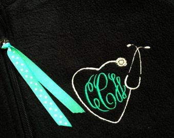 Custom Monogrammed Stethoscope Fleece Quarter Zip Pullover - Stethoscope Monogram 1/4 Zip Popover - Nursing - Healthcare - Nurse