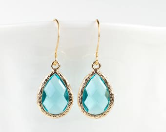 Aquamarine Gold Teardrop Earrings, March Birthstone Jewelry, Gold Earrings, Blue Gold Earrings, March Birthday Earrings