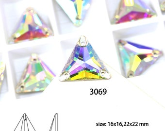 24-72pcs Triangle Crystal Sew On Stone AB Color With 2 Holes