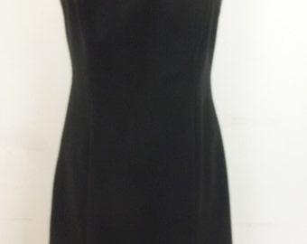 70's Little Black Dress Spaghetti Straps Brocade Ribbon Trim Mini Style Made in USA by LaBelle Size M