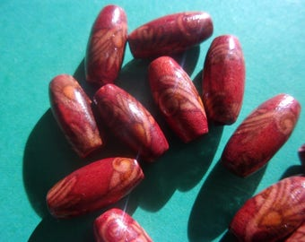 Pattern - 15mm x 7mm red wooden bead