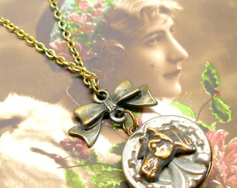Lucky, Antique BUTTON necklace, Victorian horse on brass chain. Antique button jewellery.