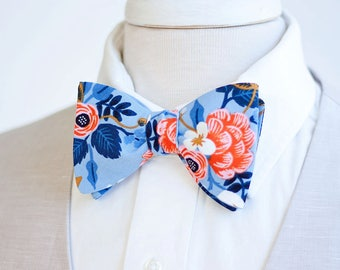 Bow Ties, Bow Tie, Bowties, Mens Bow Ties, Freestyle Bow Ties, Self-Tie Bow Ties, Rifle Paper Co - Birch Floral In Periwinkle
