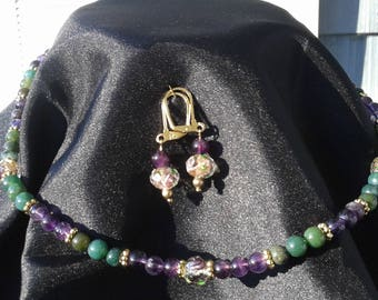 Amethyst & Moss Agate necklace set