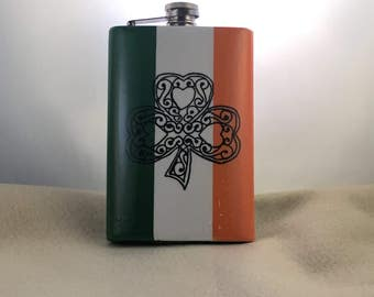 Flask ,St Patricks day, Hip flask, Stainless steel flask, 8 oz., Whiskey Flask, Celtic clover, Irish pride, Irish flag