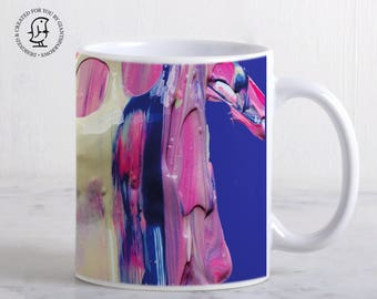 Mug, Luscious Mix of Pink Blue and White Paints - Detail of a Painter's Palette