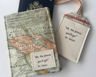 """Passport Cover World Map,  Luggage tag set """"Oh the Places you'll Go"""" passport case, travel gift for graduate"""