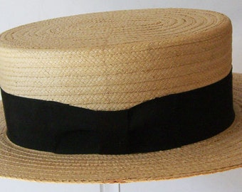 """22"""" - Vintage Chevy Chase Summer Straw Men's Boater Hat"""
