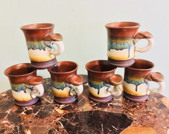 Set Of 6 Stoneware Coffee Mugs With Drip Glaze And Thumb Rest