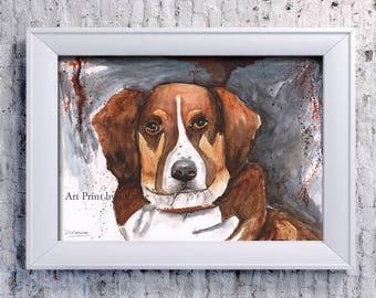 Dog Painting | Austrailian Shepard Painting | Dog Portrait | Aussie Art | Dog Portrait | 8 X 10 Modern Dog Giclée | Australian Shepard Print