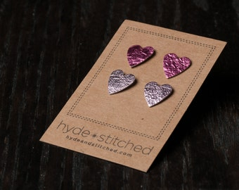 Pretty in Pink: heart shaped leather earring set, two pair of leather heart stud earrings, handmade leather jewelry