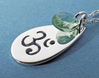 Om Necklace, Ohm Necklace, Sterling Silver Necklace, Charm, Ohm, Yoga, Crystal
