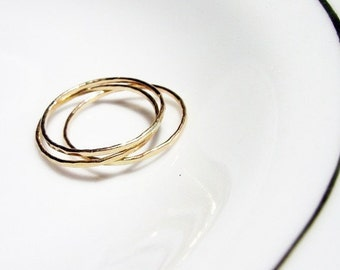 Single Love. 14K Pure Recycled Gold Skinny Hammered Textured Band Ring. Stackable. Fine Jewelry. One Single Gold Hammered Ring. Solid Gold.