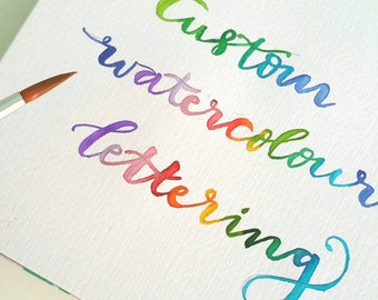 Custom watercolour original calligraphy lettering, home decor gift, holiday gift, christmas present,