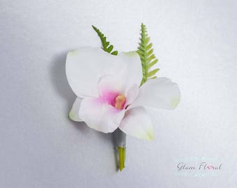 White Orchid Boutonniere . Real Touch Wedding Bridal Silk Flowers. groom groomsmen, pin on flower button hole, pink, Orchid Peony Collection