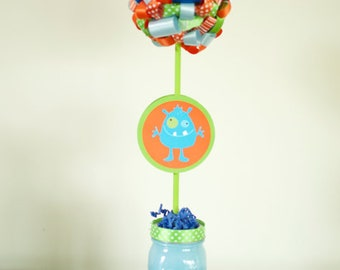 Boys Monster Birthday Party Ribbon Topiary Centerpiece One (1) Monster Birthday Party Decoration Orange Green Blue Party