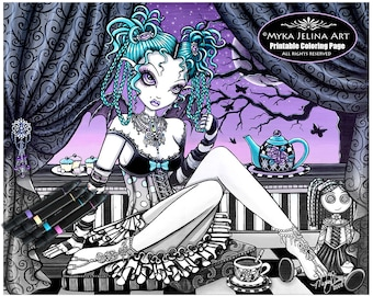 Makayla - Tea Party - Grayscale - Digital Download - Coloring Page - Gothic Fairy - Ragdoll - Myka Jelina Art