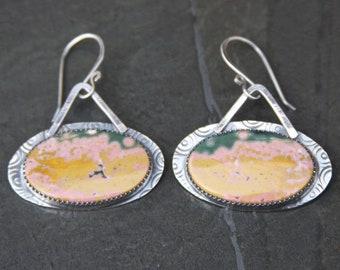 ocean jasper and sterling silver metalwork earrings