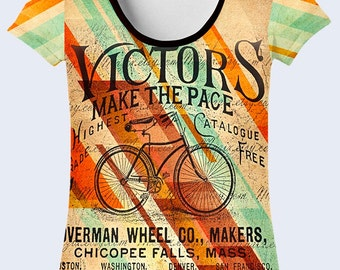Bike T Shirt, Graphic T Shirt, Bicycle Womens T Shirt, Colorful Ladies Top, Street Clothing, Crew Neck Tee, Total Print