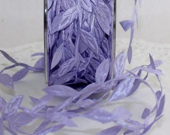"""Lavender Leaves Ribbon, Lavender Leaf Trim, 1/8"""" wide"""