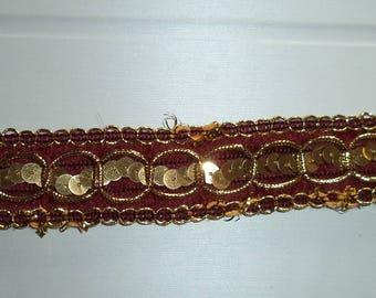 fancy with Burgundy Brown glitter Ribbon new width 2.5 cm
