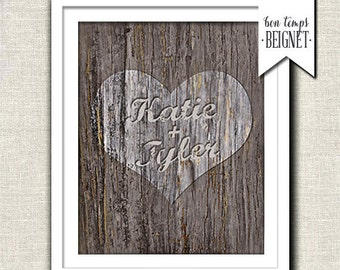 Personalized Couples Name Art. Heart Carved In Tree Picture -Faux Bois Wedding Decor. Nature Inspired Bedroom Art. Newlywed Gift