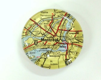 Vintage Map Paperweight - Montreal Canada - Ready to ship