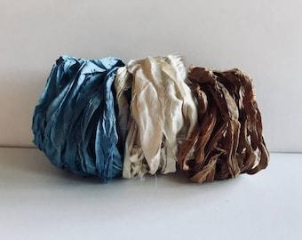 Silk Sari Ribbon-Blue, Antique White, Brown Sari Ribbon-9 Yards
