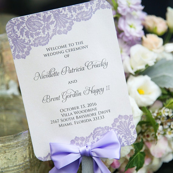 Fan Wedding Program with Bow - Ivory and Lavender Lace with Lavender Ribbon - Custom Wording, Colors, & Fonts