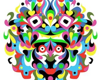 Mardi Gras. Cross Stitch pattern, Digital Download PDF. Geometric design of a Mardi Gras reveler with a colorful headdress.