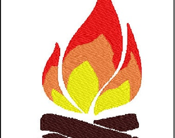Campfire Fire  Camping Embroidery Design