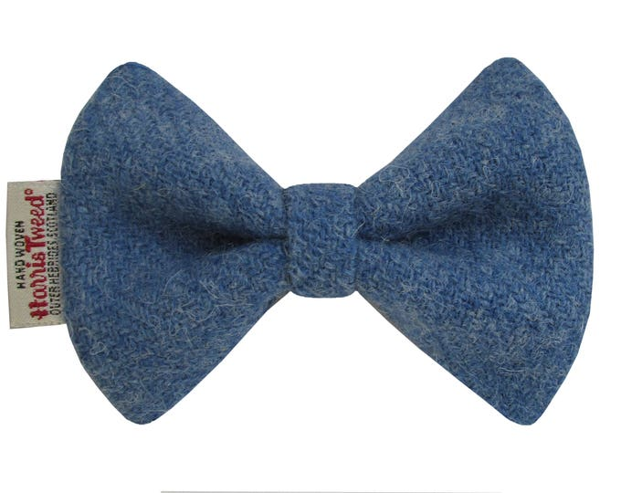 Harris Tweed Denim Blue Designer Dog Bow Tie