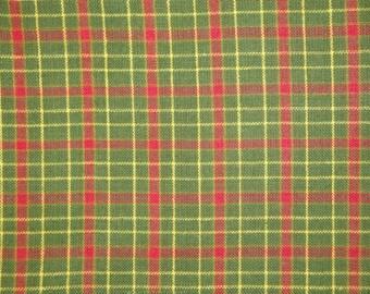 Plaid Cotton Homespun Fabric Green And Red 1 Yard