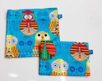 Reuseable Eco-Friendly Set of Snack and Sandwich Bags in Turquoise Owls Fabric