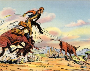 Vintage Western Postcard – Busted Cinch – Cowboy on Range signed Lorenz (unused)