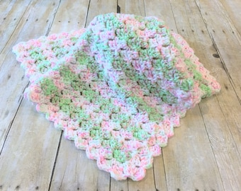 Pink Baby Blanket, Crochet Baby Blanket, Mint Baby Blanket, Crochet Blanket, Baby Girl Blanket, Baby Afghan, Double Thick, Ready to Ship