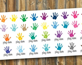 Hand Print & Play Date Planner Stickers