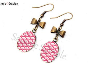 Japanese wave bow pink white black pearl earrings