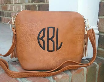 Personalized Monogrammed Vegan Leather Crossbody Purse with Tassel and FREE Monogram Multiple Colors Gray Black Brown Shrimp Monogram Purse