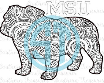 MSU coloring page Instant Download .jpg and .pdf