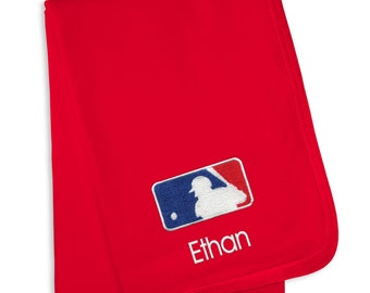 Personalized MLB Batter Baby Blanket Red